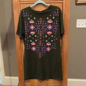 Olive green tribal t-shirt dress